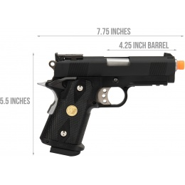 WE Tech 1911 3.8 Baby Hi-Capa Gas Blowback Airsoft Pistol [Version B] - BLACK