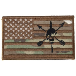 G-Force American Flag and Skull Embroidered Morale Patch - MULTICAM