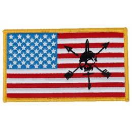 G-Force American Flag and Skull Embroidered Morale Patch - RED / WHITE / BLUE / BLACK
