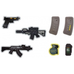 G-Force 7 Pack of Assorted Rifle, Pistol and Grenade Stickers - VARIOUS