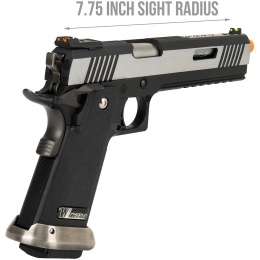 WE Tech 1911 Hi-Capa T-Rex Competition Gas Blowback Airsoft Pistol w/ Sight Mount & Top Ports - TWO TONE / SILVER