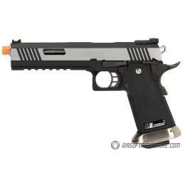 WE Tech 1911 Hi-Capa T-Rex Competition Gas Blowback Airsoft Pistol w/ Sight Mount - TWO TONE / SILVER
