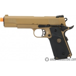 WE Tech 1911 Full Metal MEU Airsoft Gas Blowback Pistol - TAN