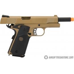WE Tech 1911 Full Metal MEU Airsoft Gas Blowback Pistol - TAN