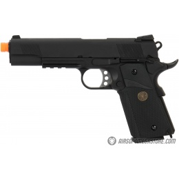 WE Tech 1911 Full Metal MEU Airsoft Gas Blowback Pistol w/ Picatinny Rail - BLACK