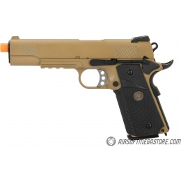 WE Tech 1911 Full Metal MEU Airsoft Gas Blowback Pistol w/ Picatinny Rail - TAN