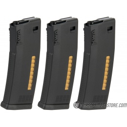 KWA 30/120rd MS120C Mid Capacity Airsoft Rifle Magazine [3 Pack] - BLACK
