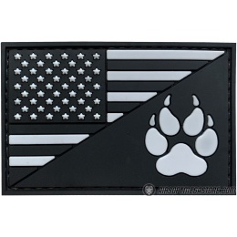 G-Force American Flag and K9 Paw PVC Morale Patch - BLACK