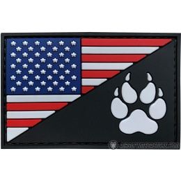 G-Force American Flag and K9 Paw PVC Morale Patch - RED / WHITE / BLUE / BLACK