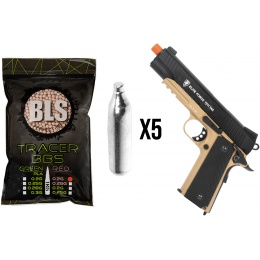 Airsoft Mega Bundle: Elite Force 1911 CO2 Pistol + Tracer BBs + 5X CO2 Cartridges