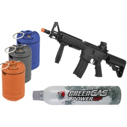 Airsoft Mega Bundle: LCT SE M4 CQB AEG + 3X ERAZ Grenades + Green Gas Can