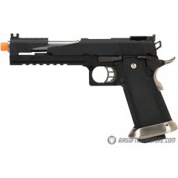 WE Tech 1911 Hi-Capa T-Rex Competition Gas Blowback Airsoft Pistol w/ Top Ports - BLACK / SILVER