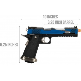 WE Tech 1911 Hi-Capa T-Rex Competition Gas Blowback Airsoft Pistol w/ Top Ports - BLUE / SILVER