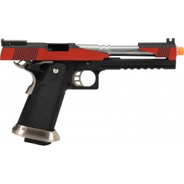 WE Tech 1911 Hi-Capa T-Rex Competition Gas Blowback Airsoft Pistol w/ Top Ports (RED / SILVER)