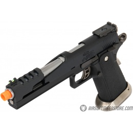 WE Tech 1911 Hi-Capa T-Rex Competition Gas Blowback Airsoft Pistol w/ Top Vent - BLACK / SILVER