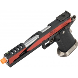 WE Tech 1911 Hi-Capa T-Rex Competition Gas Blowback Airsoft Pistol w/ Top Vent - RED / SILVER