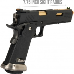 WE Tech 1911 Hi-Capa T-Rex Competition Gas Blowback Airsoft Pistol w/ Sight Mount & Top Ports (BLACK / GOLD)