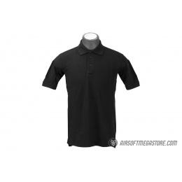 Lancer Tactical Polyester Fabric Polo Shirt [Medium] - BLACK