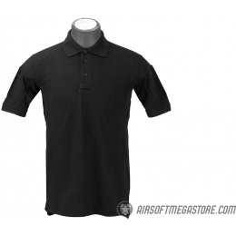 Lancer Tactical Polyester Fabric Polo Shirt [Large] - BLACK