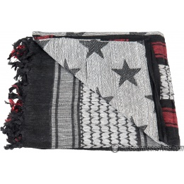 Lancer Tactical Multi-Purpose Shemagh Face Head Wrap w/ Black Stars - RED / WHITE
