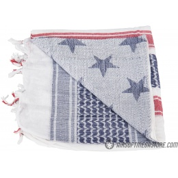 Lancer Tactical Multi-Purpose Shemagh Face Head Wrap w/ Blue Stars - WHITE / BLUE / RED