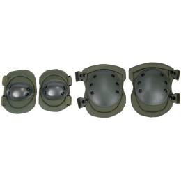 Lancer Tactical Airsoft Non-Slip Elbow & Knee Pad Set [Nylon] - OD GREEN