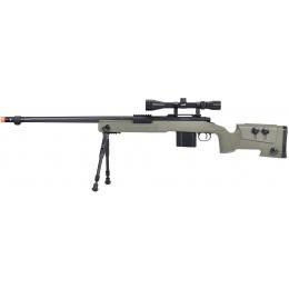 WellFire MB4416 M40A3 Bolt Action Sniper Rifle w/ Scope & Bipod - OD GREEN