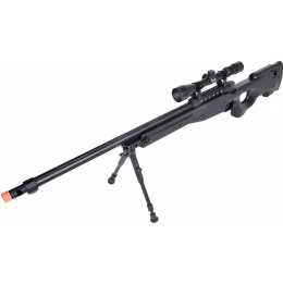 WellFire MB15 L96 Bolt Action Airsoft Sniper Rifle w/ Scope & Bipod - BLACK