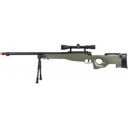 WellFire MB15 L96 Bolt Action Airsoft Sniper Rifle w/ Scope & Bipod - OD GREEN