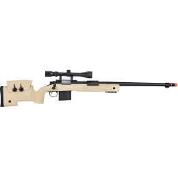 WellFire MB4416 M40A3 Bolt Action Sniper Rifle w/ Scope - TAN