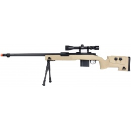 WellFire MB4416 M40A3 Bolt Action Sniper Rifle w/ Scope & Bipod - TAN