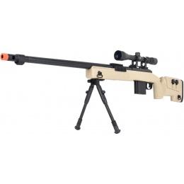 WellFire MB4416 M40A3 Bolt Action Sniper Rifle w/ Scope & Bipod - TAN
