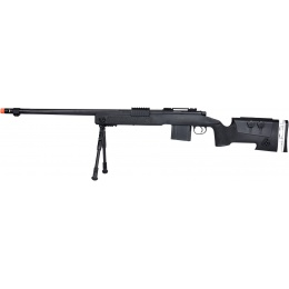 WellFire MB4417 M40A3 Bolt Action Airsoft Sniper Rifle w/ Bipod - BLACK
