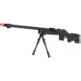 WellFire MB4417 M40A3 Bolt Action Airsoft Sniper Rifle w/ Bipod - BLACK