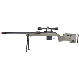 WellFire MB4417 M40A3 Bolt Action Airsoft Sniper Rifle w/ Scope & Bipod - OD GREEN