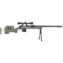 WellFire MB4417 M40A3 Bolt Action Airsoft Sniper Rifle w/ Scope & Bipod - OD GREEN