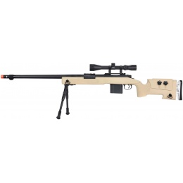 WellFire MB4417 M40A3 Bolt Action Airsoft Sniper Rifle w/ Scope & Bipod - TAN