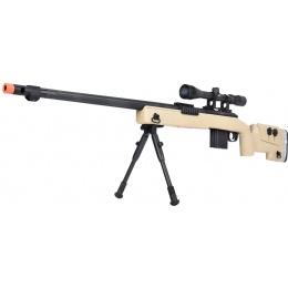 WellFire MB4417 M40A3 Bolt Action Airsoft Sniper Rifle w/ Scope & Bipod - TAN