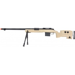WellFire MB4417 M40A3 Bolt Action Airsoft Sniper Rifle w/ Bipod - TAN