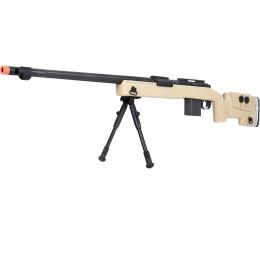 WellFire MB4417 M40A3 Bolt Action Airsoft Sniper Rifle w/ Bipod - TAN
