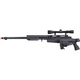 WellFire MB4418-1 Bolt Action Airsoft Sniper Rifle w/ Scope - BLACK
