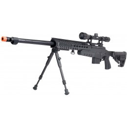 WellFire MB4418-1 Bolt Action Airsoft Sniper Rifle w/ Scope & Bipod - BLACK