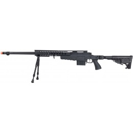 WellFire MB4418-1 Bolt Action Airsoft Sniper Rifle w/ Bipod - BLACK
