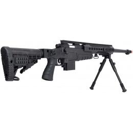 WellFire MB4418-1 Bolt Action Airsoft Sniper Rifle w/ Bipod - BLACK