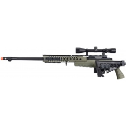 WellFire MB4418-1 Bolt Action Airsoft Sniper Rifle w/ Scope - OD GREEN