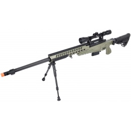 WellFire MB4418-1 Bolt Action Airsoft Sniper Rifle w/ Scope & Bipod - OD GREEN