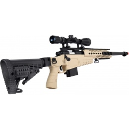 WellFire MB4418-1 Bolt Action Airsoft Sniper Rifle w/ Scope - TAN