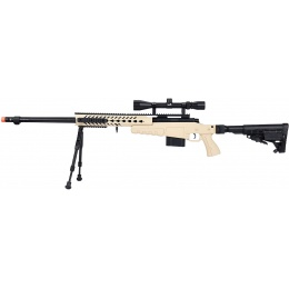 WellFire MB4418-1 Bolt Action Airsoft Sniper Rifle w/ Scope & Bipod - TAN