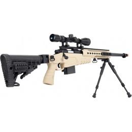 WellFire MB4418-1 Bolt Action Airsoft Sniper Rifle w/ Scope & Bipod - TAN