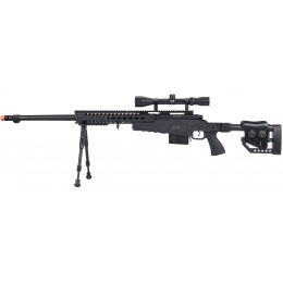 WellFire MB4418-2 Bolt Action Airsoft Sniper Rifle w/ Scope & Bipod - BLACK